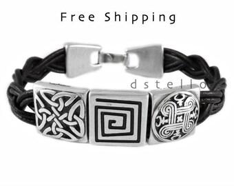 Mothers day gifts, Celtic bracelet, men's leather bracelet,  men's celtic jewelry, custom leather bracelet, Anniversary gift for women, men