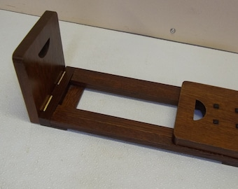 "Arts and Crafts Sliding Book Ends and C D Rack Featuring Craftsman ""D"" Mission Style Handcrafted/Handmade"