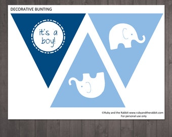 Printable 'It's a Boy' elephant BUNTING for a baby shower - INSTANT DOWNLOAD
