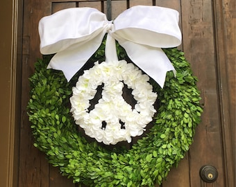 Peace Sign Boxwood Hydrangea Floral Wreath, Door Wreath,