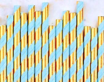 Light Blue & Gold Foil Paper Straws, Blue and Gold Foil Stripe Paper Straws, Gold Cake Pop Sticks, Pastel Paper Straws, Wedding Paper Straws