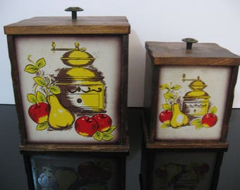 Vintage 1960's All Wood Kitchen Canisters  - Set of 2