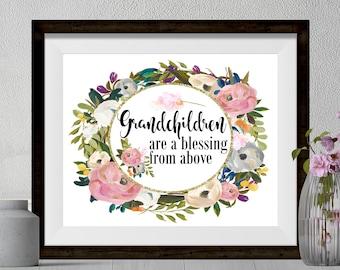 Grandchildren Are A Blessing From Above Sign|Grandchildren Digital Art|Pink Watercolor Flowers|Grandparent Gift|Grandchildren Printable|
