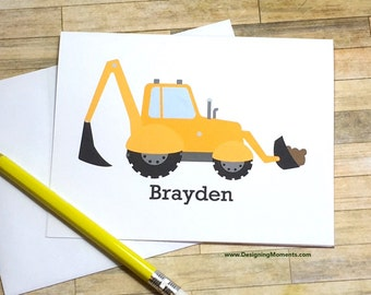 Personalized Boys Stationary - Excavator Stationery Set - Kids Cards -Construction Cards - Thank You Cards - Yellow Construction Truck Card