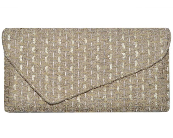 Linton Tweed Soft Beige & Gold Asymmetric Clutch Bag