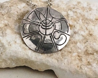 YESHUA WHEEL//handmade Stering Pendant//chased Hebrew line letters around menorah hub//hand hammered//Scriptural//perfect gift//largesize