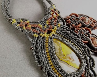 Macrame Necklace, Bumblebee Jasper with Gray Thread