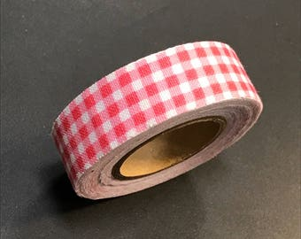 Cotton duct tape - masking tape - 3 m 50 pink and white gingham