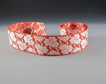 "1 5/8"" AMBER CREAM JACQUARD Floral Ribbon Wholesale"