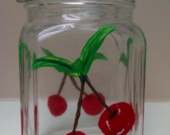 Small glass latch jar - hand painted, cherry or flower