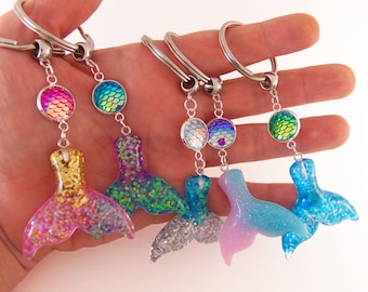 Mermaid scale and tail keychains, mermaid scale keychain, mermaid tail keychain, mermaid keyring, mermaid key chain, custom key chain