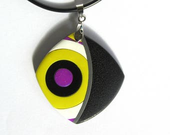 Yellow purple polymer clay pendant black and white round pattern, rounded diamond circles