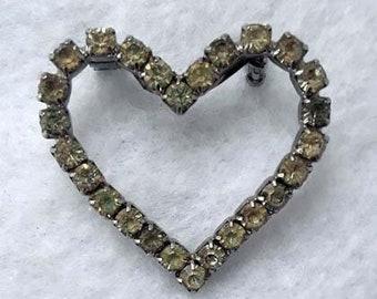 Vintage Rhinestone Heart Shaped Brooch