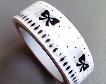 Masking tape black and white bows 10 m