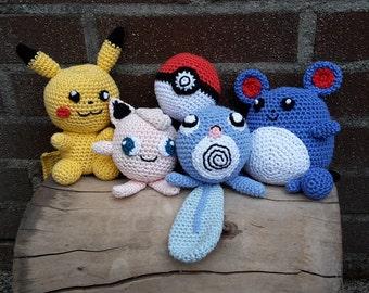 Crochet pattern of Pokémon Pikachu, Marill, Poliwag, Pokébal, DIY, PDF file