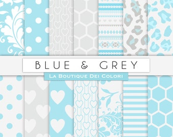 Blue and gray digital paper. Nursery digital paper pack blue grey backgrounds patterns baby boy patterns for commercial use
