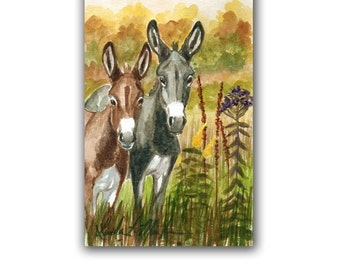 Autumn Colors  Donkeys Burros Wild Flowers LLMartin Original Watercolor Painting Virginia Country  Free First Class Shipping USA