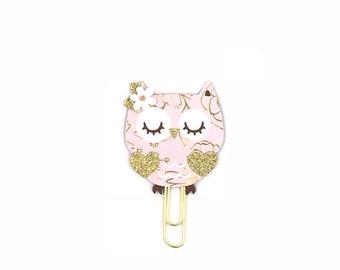 Pretty in Pink Owl Paper Clip
