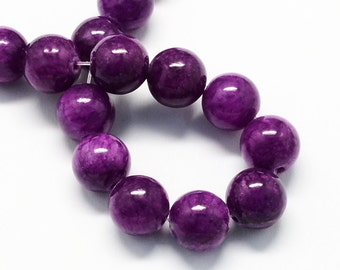 20 Jade Beads 8mm Deep Purple Gemstone Beads 8mm Set of 20 - BD986