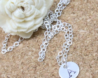 Silver Initial Necklace- Initial Necklace- Initial Disc Necklace-Letter Necklace- Personalized Jewelry-Silver Charm Initial- Stamped Initial