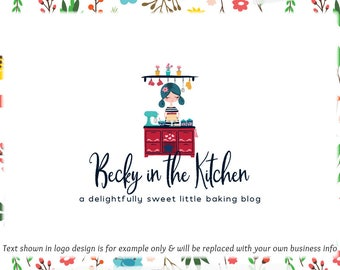 Baking Premade Blog Header & Logo Design - Web + Print Files + Watermarks - Limited Edition! Perfect For Sweets Blogger, Sweets Shop + more!