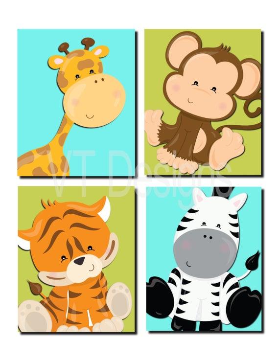 Jungle Animals Wall Art Nursery Art Safari Animals Boy