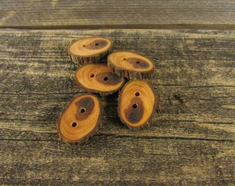 5 cute oval Juniper Wooden buttons- handmade buttons  (5018)