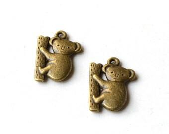 Set of 2 small charms koala color bronze