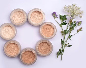 Mineral Makeup Foundation ~FLAX~ medium skin tone foundation with neutral undertone - vegan makeup - natural foundation for acne prone skin