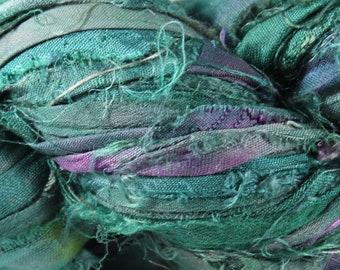 Recycled Sari Silk Ribbon - Mermaid