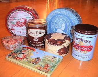 Lot of 7 Metal Tins Containers - Cakes and Chocolates
