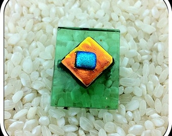 Glass Brooch Bottle Green Semi-transparent with Layers Squares of Bright Metallic Dichroic - Lapel Pin - Fused Glass - Gift Box