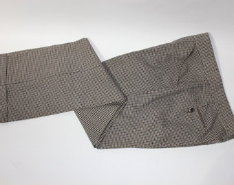 "vintage 70's - 80's -Monteverdi by Phil Kronfeld- Men's trousers.  Tri-color check - All Wool. Flat front - Straight leg. 33"" waist"