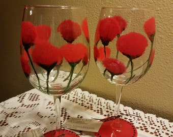 Poppies in Red Stemmed Glasses