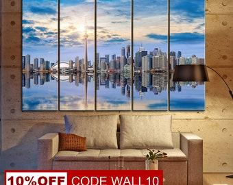 Reflection, City Reflection, Wall Decor, Canvas City, City Reflection Canvas, Water Reflection, Canvas Print, Cityscape, Canvas Photo