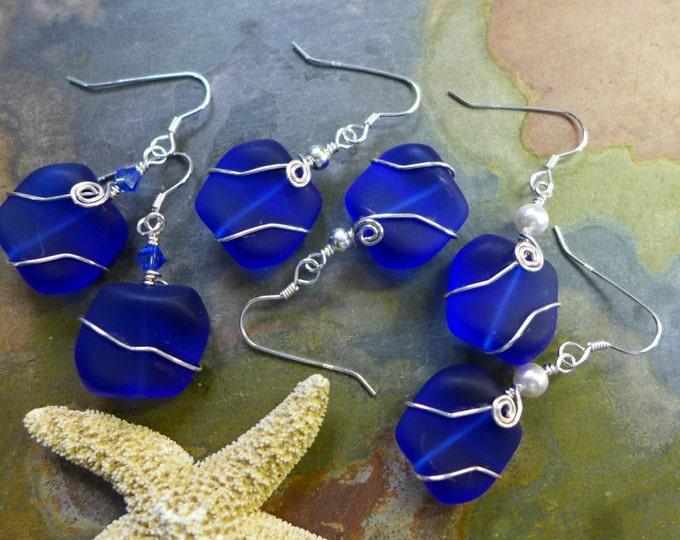 Cobalt Blue Sea Glass Earrings in Sterling Silver, Blue Sea Glass Earrings, Beach Weddings, Blue earrings