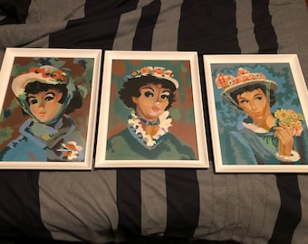 Set of Three (3) Vintage 1950s Paint-By-Numbers of Gibson Girls, in White Frames