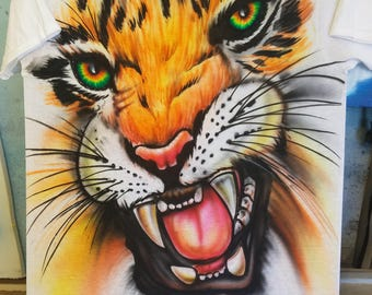 Airbrushed Tiger T-Shirt.... T-shirts are highj quality Gildean,Hanes,Fruit of the Loom Besr