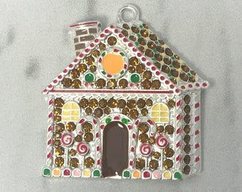 Christmas pendant etsy 4138mm gingerbread house pendant christmas pendant rhinestone pendants gingerbread aloadofball Images