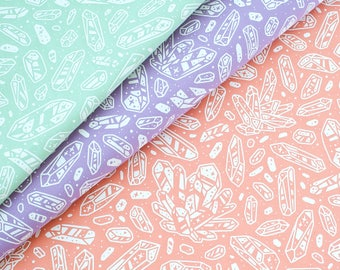 Quartz Crystals Fabric Collection - Nature Series - Hand-Screenprinted, Hand-Drawn Pattern - 100% Cotton