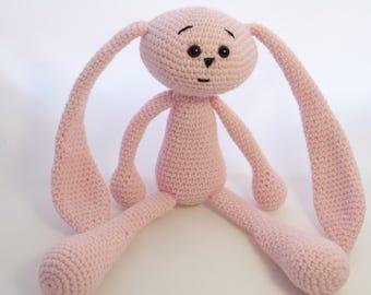 Crochet rabbit, crochet hare, knitted bunny, light pink hare, knit rabbit, knitted hare.