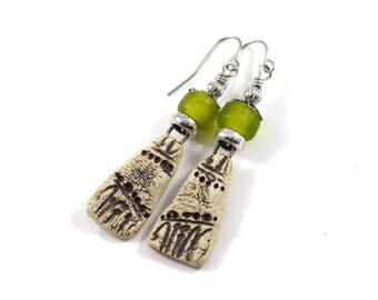 Handmade Lime Green Earrings, Brown Rustic Earrings, Ceramic Earrings, Silver Earrings, Boho Earrings, Artisan Earrings, Stoneware, AE077