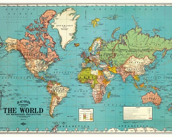 Vintage World Map PRINTABLE Map Print-Instant Digital Download. PRINTABLE map.Nursery Art. Old world map download.Digital map. Map clip art