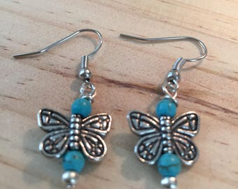 Silver Butterfly & Turquoise howlite drop dangle earrings Boho one of a kind Gift Custom