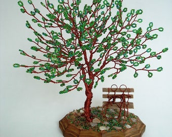 Blossom Green Bead Tree - Wedding Cake Topper - Made To Order