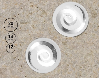 2 cabochons 20 mm spiral silver on white background is available in 14, 12 mm