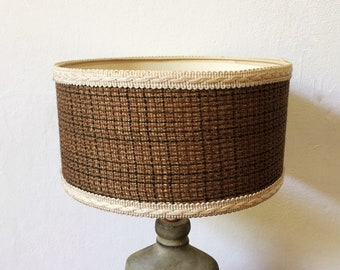 Brown 1970s lamp shade with wool weave