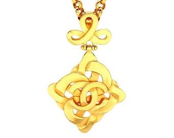 Authentic vintage Chanel necklace mesh rhombus CC #ne2003