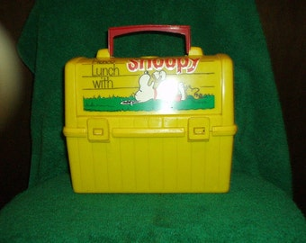 Vintage Yellow Plastic Have Lunch With Snoopy Lunchbox
