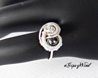 Artisan Ring - Hematite Paisley Pinky Ring Sterling Wire Wrapped Ring - Handmade